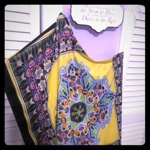 Hip, one shoulder, multi color mini dress sz M